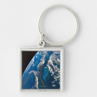 Earth from Space 31 Silver-Colored Square Keychain