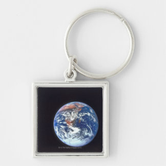 Earth from Space 33 Silver-Colored Square Keychain