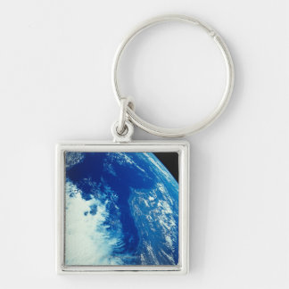 Earth from Space 34 Silver-Colored Square Keychain