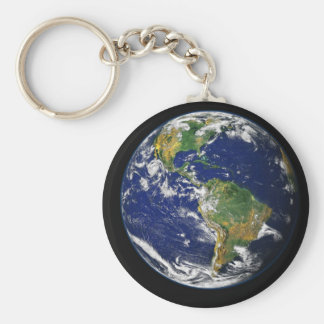 Earth from space basic round button keychain
