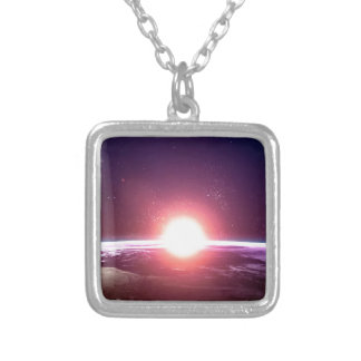 Earth from Space Square Pendant Necklace
