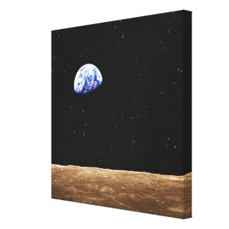 Earth from the Moons Surface Stretched Canvas Print
