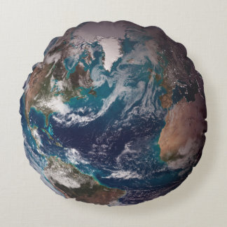 Earth -  Front: Western Hemisphere' Back: Eastern Round Pillow