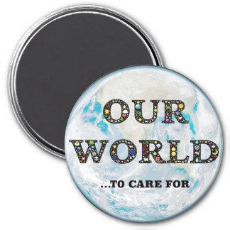 Earth Global Environment Awareness Activism Button Magnet