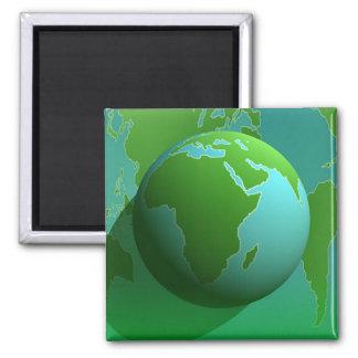 Earth Globe 2 Inch Square Magnet