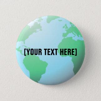 Earth Globe Background Custom Text Button