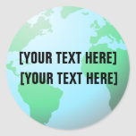 Earth Globe Background Custom Text Classic Round Sticker