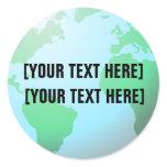 Earth Globe Background Custom Text Classic Round Sticker