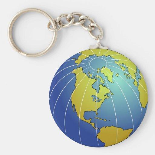Earth Globe Basic Round Button Keychain
