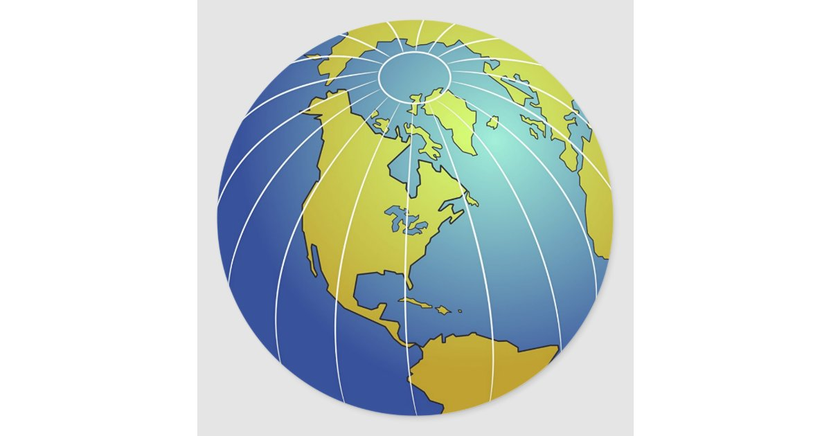 Earth Globe Classic Round Sticker | Zazzle.com