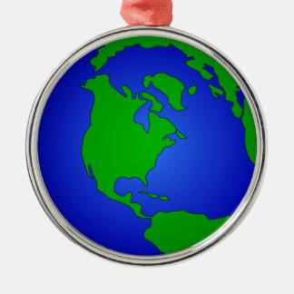 Earth Globe Image Premium Round Ornament