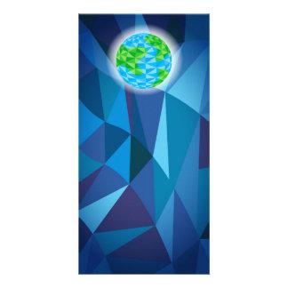 Earth Globe Low Poly Polygon Greeting Photo Card
