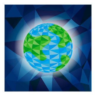 Earth Globe Low Poly Poster