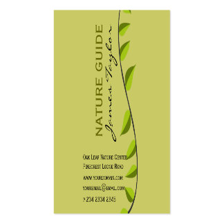 Earth Green Nature Guide  Green Leaf Business Card Templates