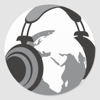 Earth Headphones Classic Round Sticker