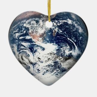 Earth Heart (Add Background Color) Ceramic Ornament