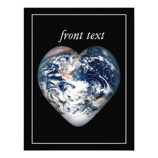 Earth Heart (Add Background Color) Personalized Invitation
