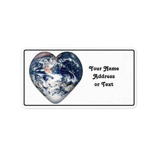 Earth Heart (Add Background Color) Custom Address Label