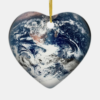 Earth Heart Add Background Color Christmas Ornament