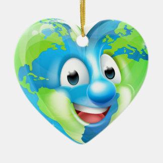 Earth Heart Globe Cartoon Character Ceramic Ornament