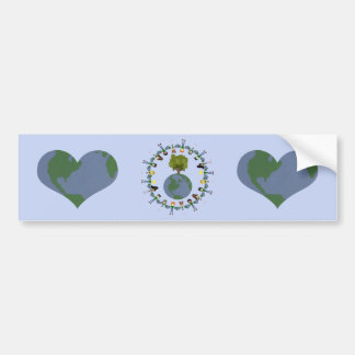 Earth Heart Kids with Tree Car Bumper Sticker
