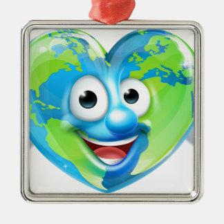 Earth Heart Mascot Cartoon Character Metal Ornament
