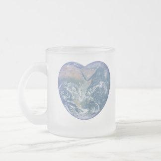 Earth Heart 10 Oz Frosted Glass Coffee Mug