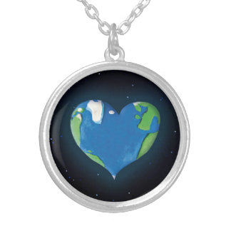 Earth Heart Round Pendant Necklace