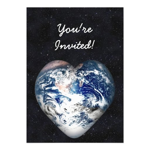 Earth Heart (Universe Background) Personalized Announcements