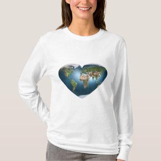 Earth Heart White Long Sleeve T-Shirt