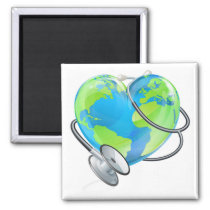 Earth Heart World Health Day Stethoscope Globe Con Magnet