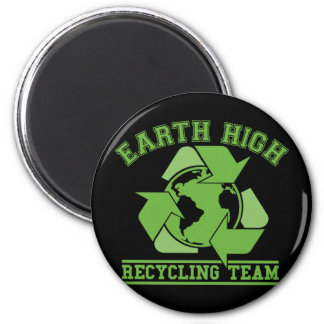 Earth High Recycling Dark 2 Inch Round Magnet