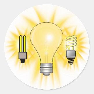 Earth Hour - 2u, Energy saver & Regular Bulb Round Sticker