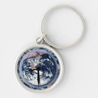 Earth Hour Clock 8:30pm Silver-Colored Round Keychain