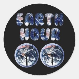 Earth Hour (Earth Text W/Clocks[2]) Round Sticker
