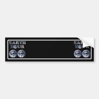 Earth Hour - Earth Text w Clocks 830-930 Bumper Stickers