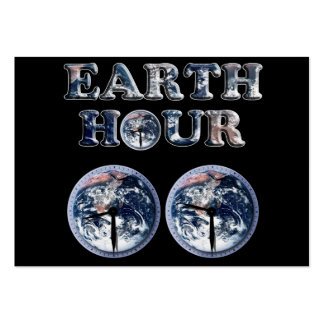 Earth Hour -  Earth Text w/Clocks 830-930 Business Card Template