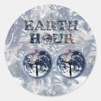 Earth Hour -  Earth Text w/Clocks 830-930 Sticker