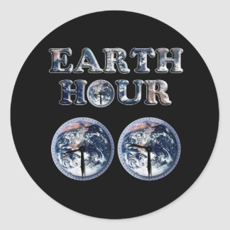 Earth Hour -  Earth Text w/Clocks 830-930 Stickers