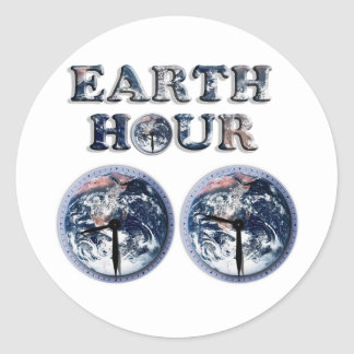 Earth Hour -  Earth Text w/Clocks 830-930 Round Stickers