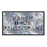 Earth Hour Participant -  Earth Text W/Clock Double-Sided Standard Business Cards (Pack Of 100)