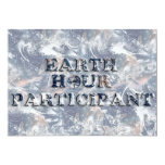 Earth Hour Participant -  Earth Text W/Clock 5x7 Paper Invitation Card