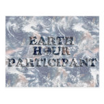 Earth Hour Participant -  Earth Text W/Clock Postcard
