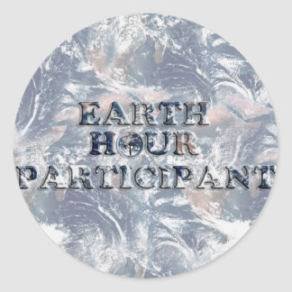 Earth Hour Participant -  Earth Text W/Clock Stickers