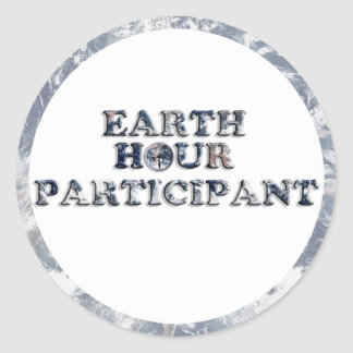 Earth Hour Participant -  Earth Text W/Clock Round Stickers