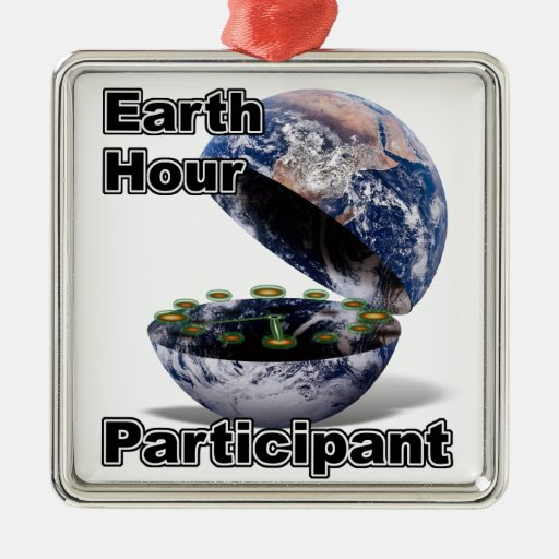 Earth Hour Participant Square Metal Christmas Ornament