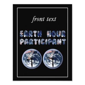 Earth Hour Participant (w/Clocks) 4.25x5.5 Paper Invitation Card