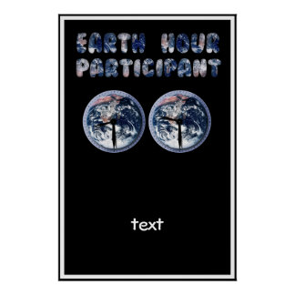 Earth Hour Participant (w/Clocks) Posters