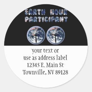 Earth Hour Participant (w/Clocks) Sticker