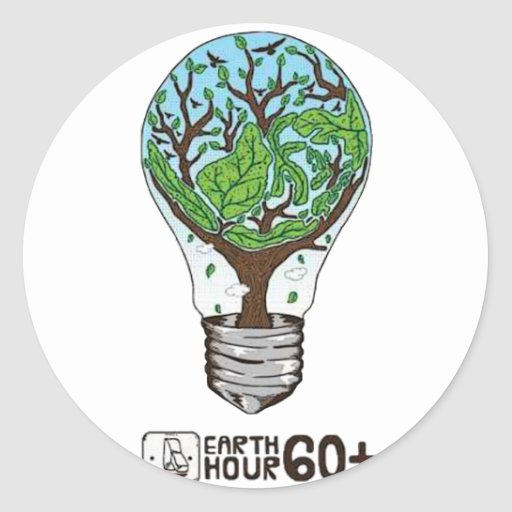 Earth Hour Round Stickers